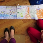 Three game boards adjoined to form longer game, 3rd grade