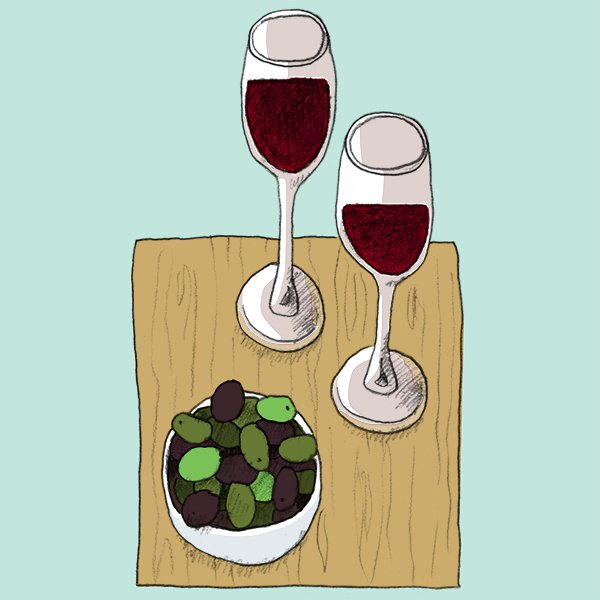 drawing of wine and olives